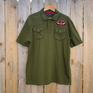 Coogi   Military Style Embroidered Patch Polo